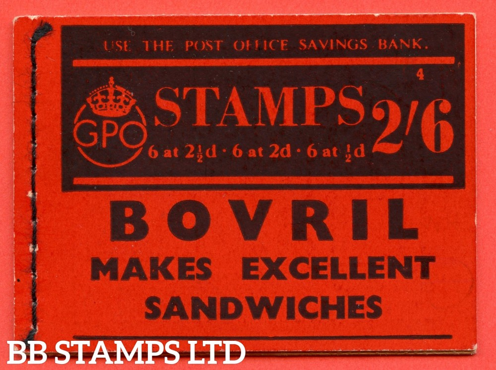 """SG. BD13. """" 2s 6d """". Edition number 4. A very fine complete example of this very scarce George VI booklet."""