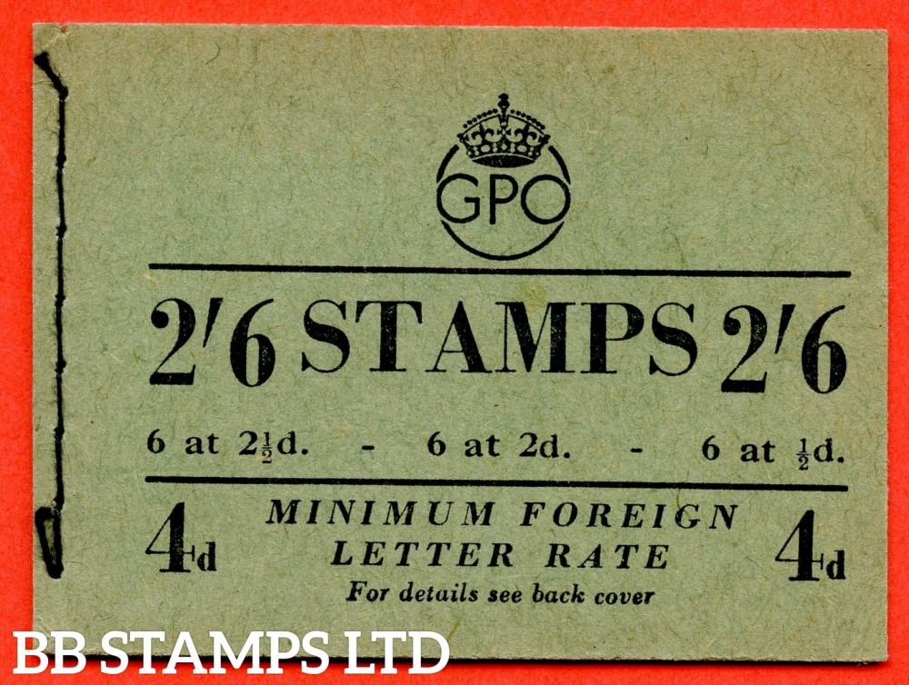 "SG. BD19. "" 2/6 "". Edition number 10. February 1952.  A very fine complete example of this George VI booklet."