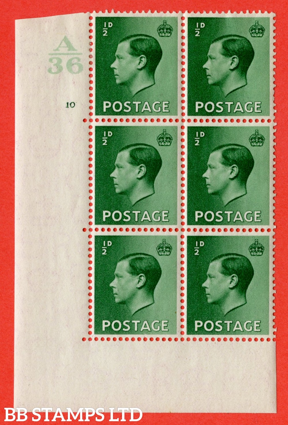 "SG. 457. P1. ½d Green. A fine mounted mint. "" Control  A36 cylinder 10 no dot "" control block of 6 with perf type 5 E/I."