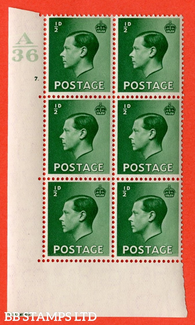 "SG. 457. P1. ½d green. A very fine lightly mounted mint. "" Control  A36 cylinder 7 dot "" control block of 6 with perf type 5 E/I. With listed variety ' Pearl beside crown ' row 20/2."