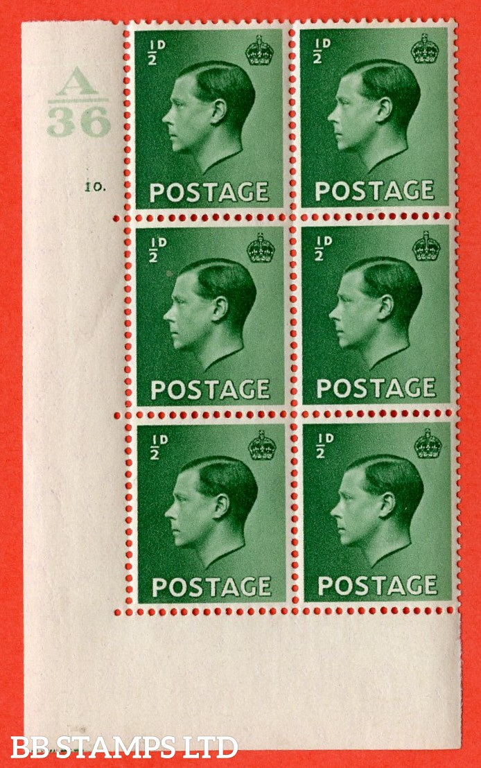 "SG. 457. P1 b. ½d green. A superb UNMOUNTED MINT. "" Control  A36 cylinder 10 dot "" control block of 6 with perf type 5 E/I. with the listed variety "" pearl beside crown  row 20/2 """