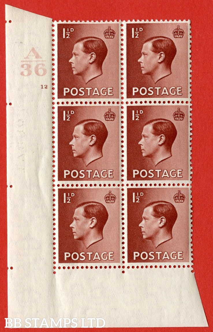 "SG. 459. P3. 1½d Red-brown. A superb UNMOUNTED MINT. "" Control  A36 cylinder 12 no dot "" control block of 6 with perf type 2 I/E."