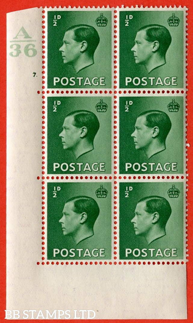"SG. 457. P1 b. ½d green. A superb UNMOUNTED MINT. "" Control  A36 cylinder 7 dot "" control block of 6 with perf type 5 E/I. with the listed variety "" pearl beside crown  row 20/2 """