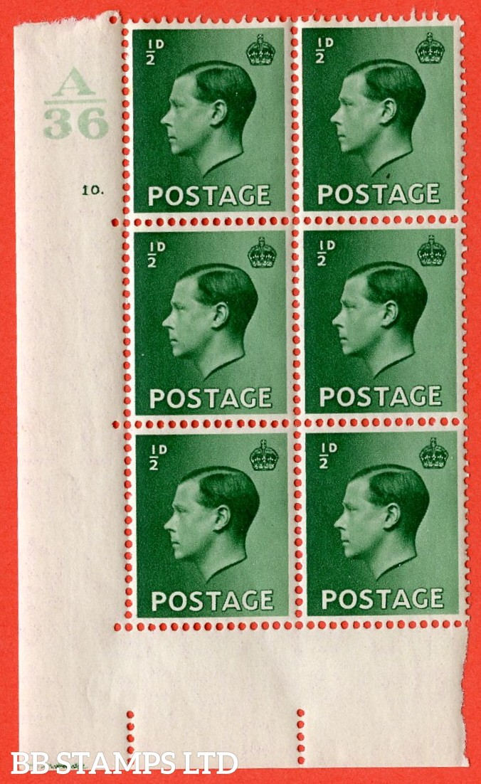 "SG. 457. P1 b. ½d green. A superb UNMOUNTED MINT. "" Control  A36 cylinder 10 dot "" control block of 6 with perf type 5 E/I. with listed variety "" Pearl beside crown "" row 20/2."
