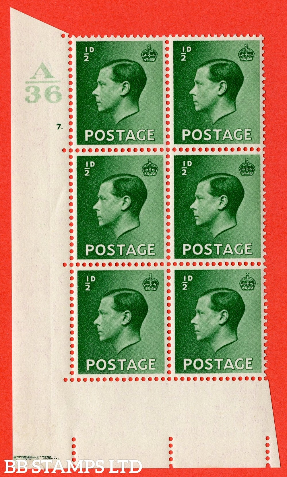 "SG. 457. P1. ½d green. A superb UNMOUNTED MINT. "" Control  A36 cylinder 7 dot "" control block of 6 with perf type 5 E/I."