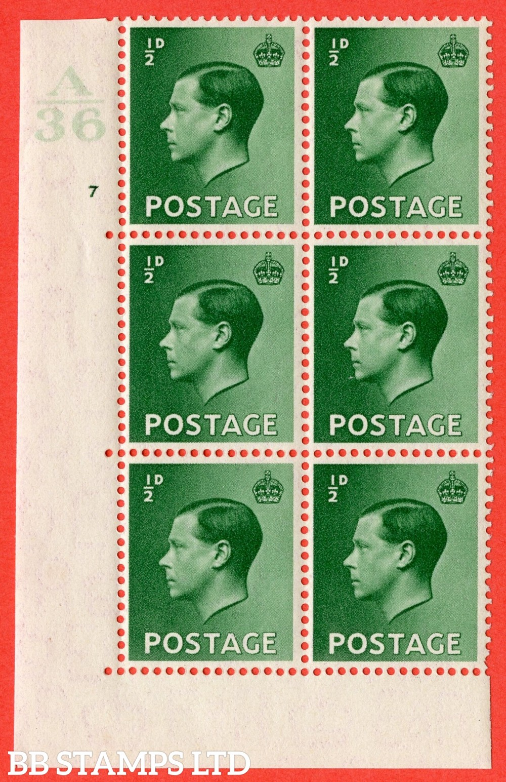 "SG. 457. P1 b. ½d green. A superb UNMOUNTED MINT. "" Control  A36 cylinder 7 no dot "" control block of 6 with perf type 5 E/I with listed variety "" Pearl Beside Crown "" Row 20/2."