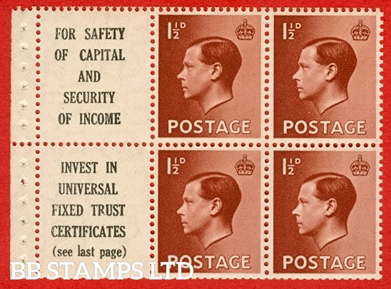 SG. 459 a. PB5 (10). 1 1/2d Red - Brown. A Fine UNMOUNTED MINT complete booklet pane with selvedge. Decent perfs and getting harder to find.