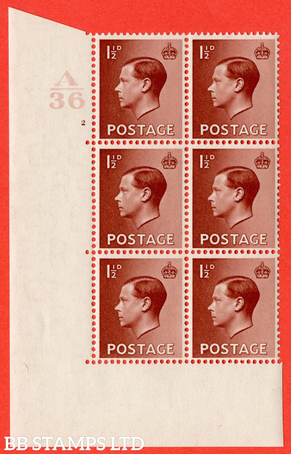 "SG. 459. P3 c. 1½d Red-brown. A superb UNMOUNTED MINT. "" Control  A36 cylinder 2 no dot "" control block of 6 with perf type 5 E/I with listed variety "" Hair Flaw Retouched "" Row 18/1"