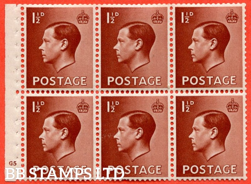 "SG. 459. PB3. 1½d red - brown. A fine UNMOUNTED MINT cylinder "" G5 (ii) dot "" booklet pane of 6 with excellent perfs. Perf type B4(E)."