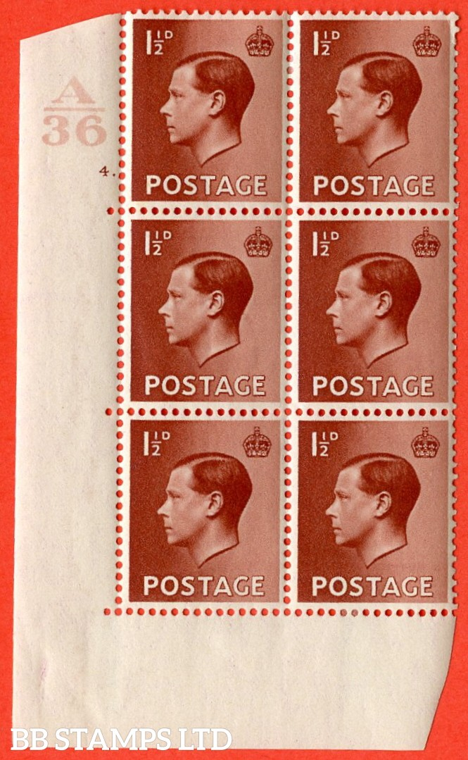 "SG. 459. P3. 1½d Red-Brown. A fine lightly mounted mint. "" Control  A36 cylinder 4 dot "" control block of 6 with perf type 5 E/I."