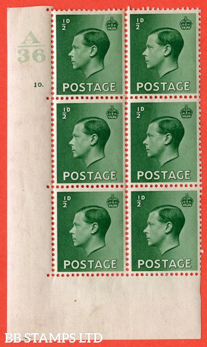 "SG. 457. P1 b. ½d green. A fine lightly mounted mint. "" Control  A36 cylinder 10 dot "" control block of 6 with perf type 5 E/I. with listed variety "" pearl beside crown "" row 20/2."