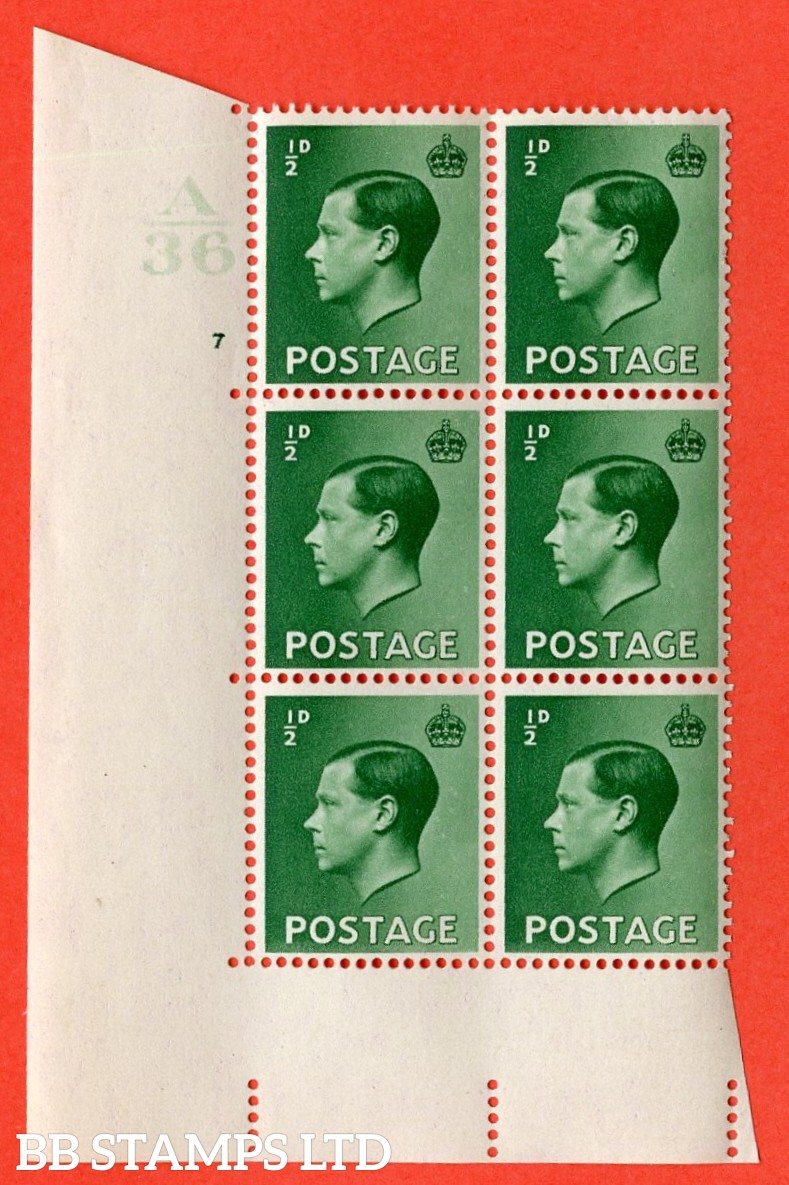 "SG. 457. P1. ½d green. A superb UNMOUNTED MINT. "" Control  A36 cylinder 7 no dot "" control block of 6 with perf type 5 E/I."