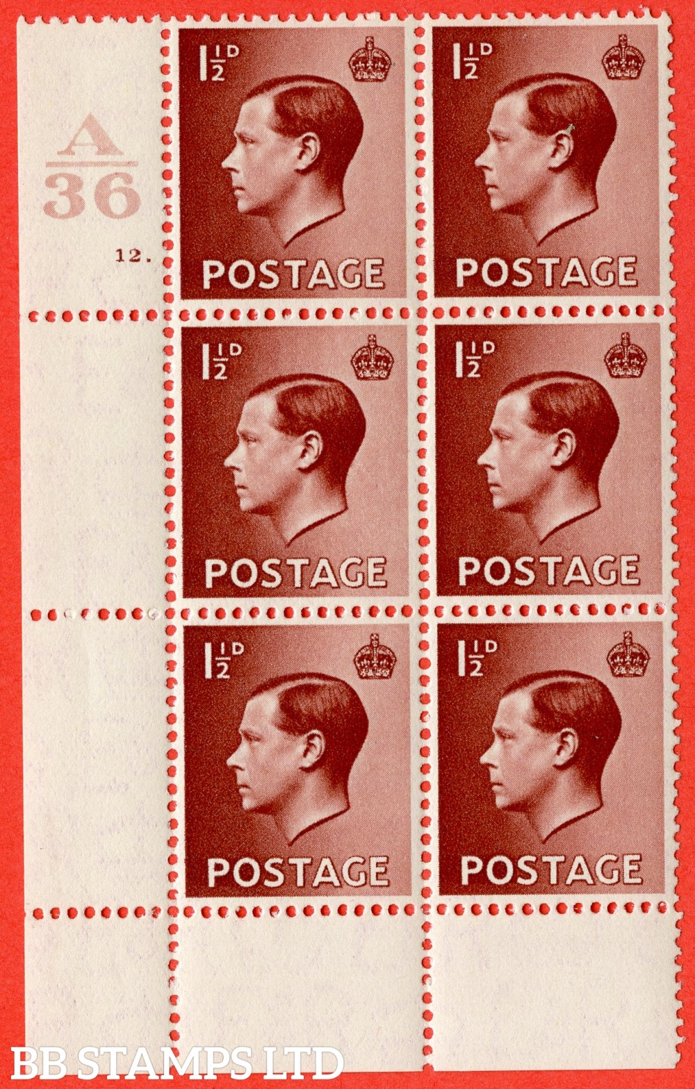 "SG. 459. P3. 1½d Red-Brown. A superb UNMOUNTED MINT. "" Control  A36 cylinder 12 dot "" control block of 6 with perf type 2A P/P."