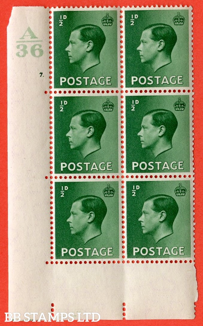 "SG. 457. P1 b. ½d green. A superb UNMOUNTED MINT. "" Control  A36 cylinder 7 dot "" control block of 6 with perf type 5 E/I. with listed variety "" Pearl beside crown "" row 20/2."