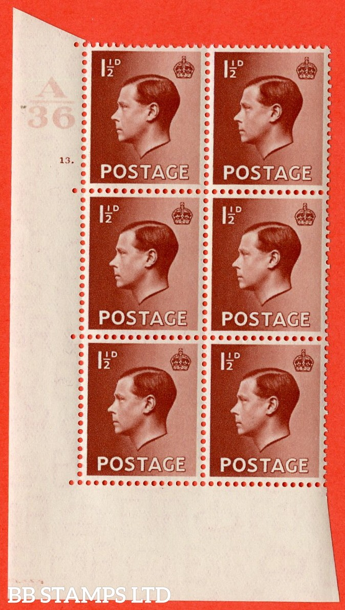 "SG. 459. P3. 1½d Red-Brown. A superb UNMOUNTED MINT. "" Control  A36 cylinder 13 dot "" control block of 6 with perf type 5 E/I."