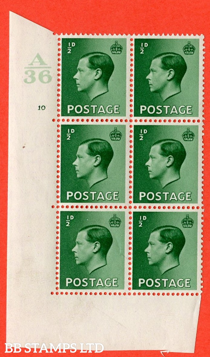 "SG. 457. P1. ½d green. A superb UNMOUNTED MINT. "" Control  A36 cylinder 10 no dot "" control block of 6 with perf type 5 E/I."