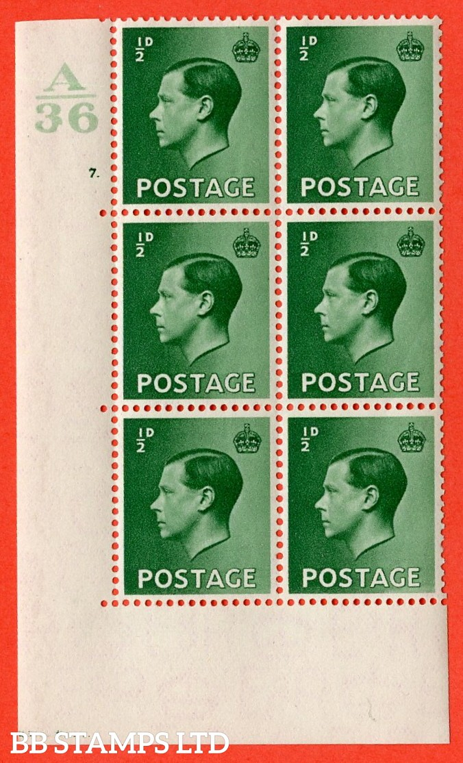 "SG. 457. P1 b. ½d green. A very fine lightly mounted mint. "" Control  A36 cylinder 7 dot "" control block of 6 with perf type 5 E/I. with listed variety "" pearl beside crown "" row 20/2."
