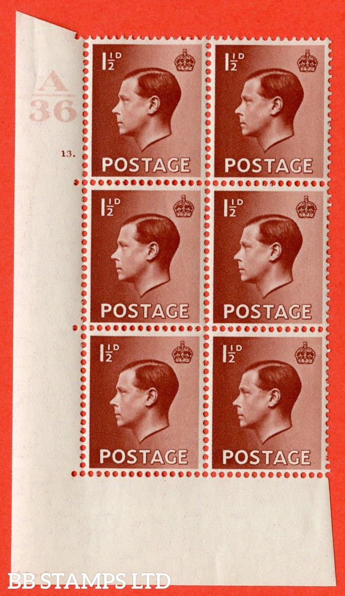 "SG. 459. P3. 1½d Red-Brown. A superb UNMOUNTED MINT. "" Control  A36 cylinder 13 no dot "" control block of 6 with perf type 5 E/I."