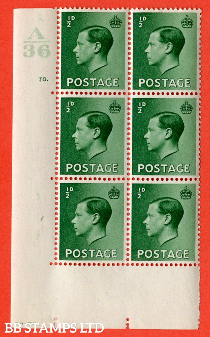 "SG. 457. P1 b. ½d green. A very fine lightly mounted mint. "" Control  A36 cylinder 10 dot "" control block of 6 with perf type 5 E/I. with the listed variety "" pearl beside crown  row 20/2 """