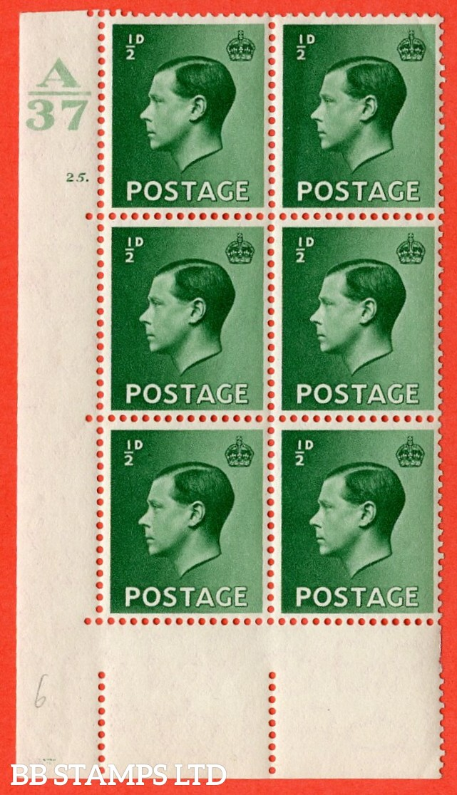 "SG. 457. P1. ½d green. A superb UNMOUNTED MINT. "" Control  A37 cylinder 25 no dot "" control block of 6 with perf type 5 E/I."