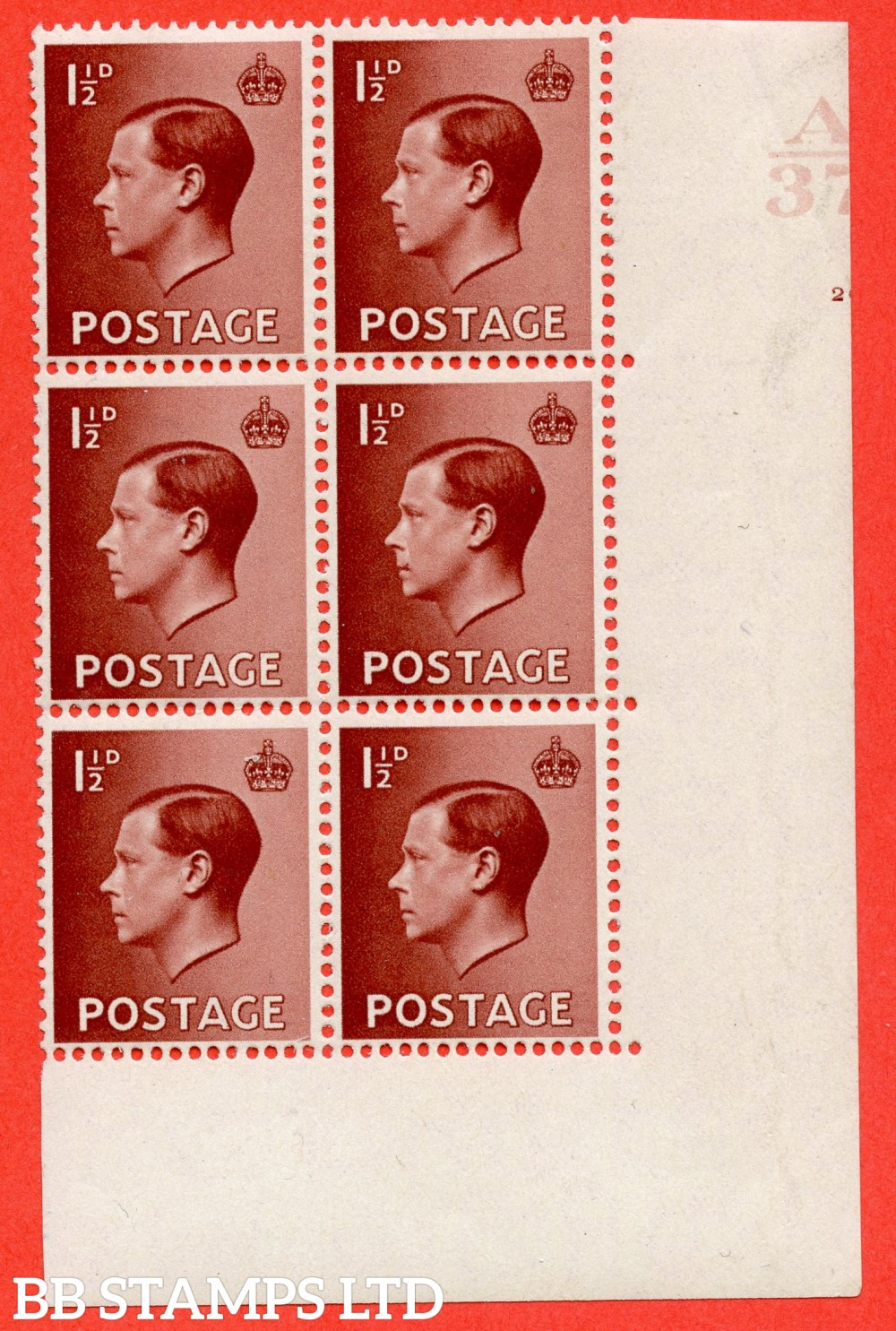 "SG. 459. P3. 1½d Red-Brown. A lightly mounted mint. "" Control  A37 cylinder 20 "" control block of 6 from the lower right of the sheet with lower right corner margins cut wider than normal showing Cylinder number. Brandon certificate."