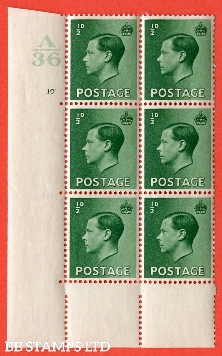 "SG. 457. P1. ½d green. A fine lightly mounted mint. "" Control  A36 cylinder 10 no dot "" control block of 6 with perf type 5 E/I."