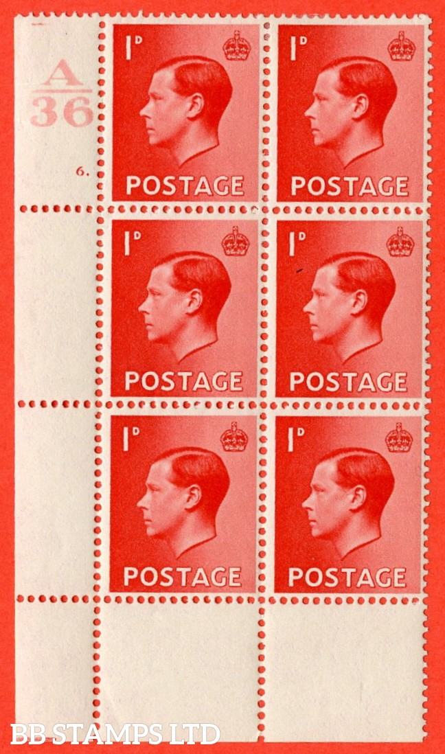 "SG. 458. P2. 1d Scarlet. A very fine lightly mounted mint. "" Control  A36 cylinder 6 dot "" control block of 6 with perf type 2A P/P. Ex Lord Steinberg collection."