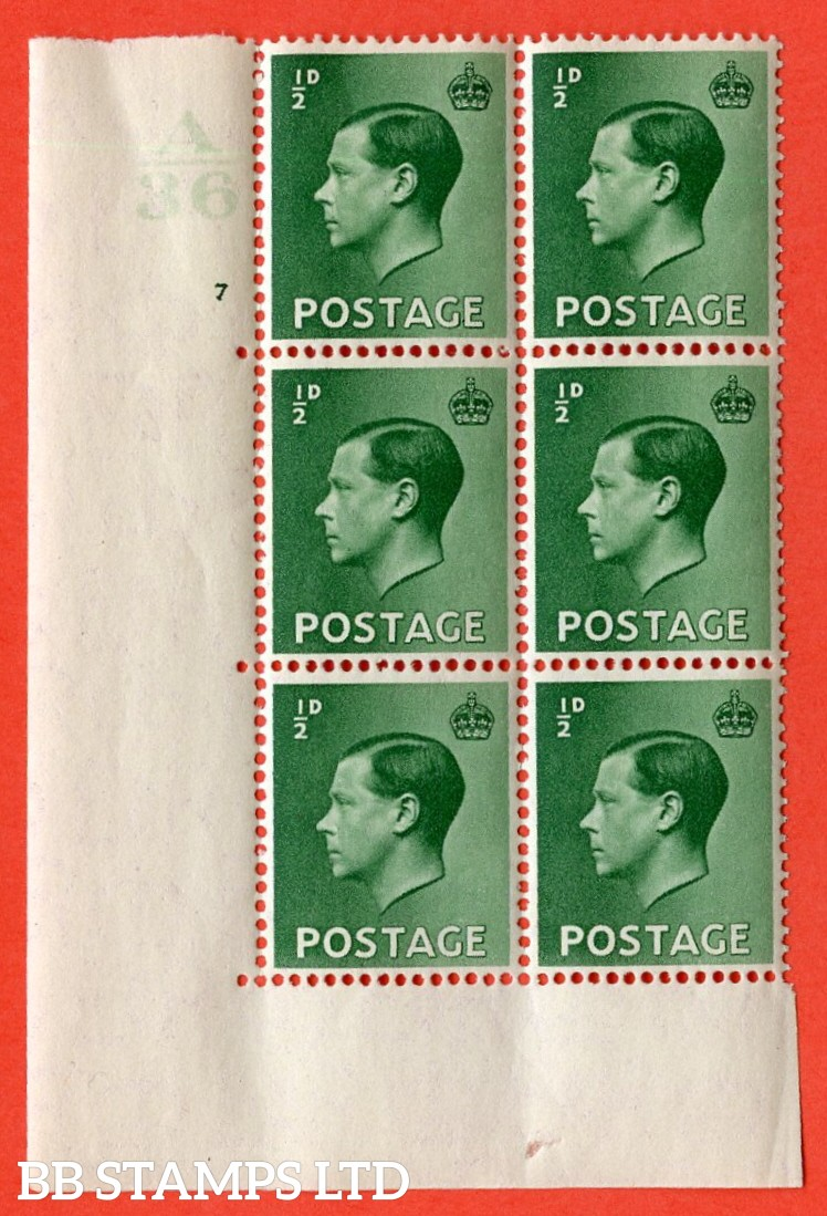 "SG. 457. P1b. ½d Green. A superb UNMOUNTED MINT. "" Control  A36 cylinder 7 dot "" control block of 6 with perf type 5 E/I."