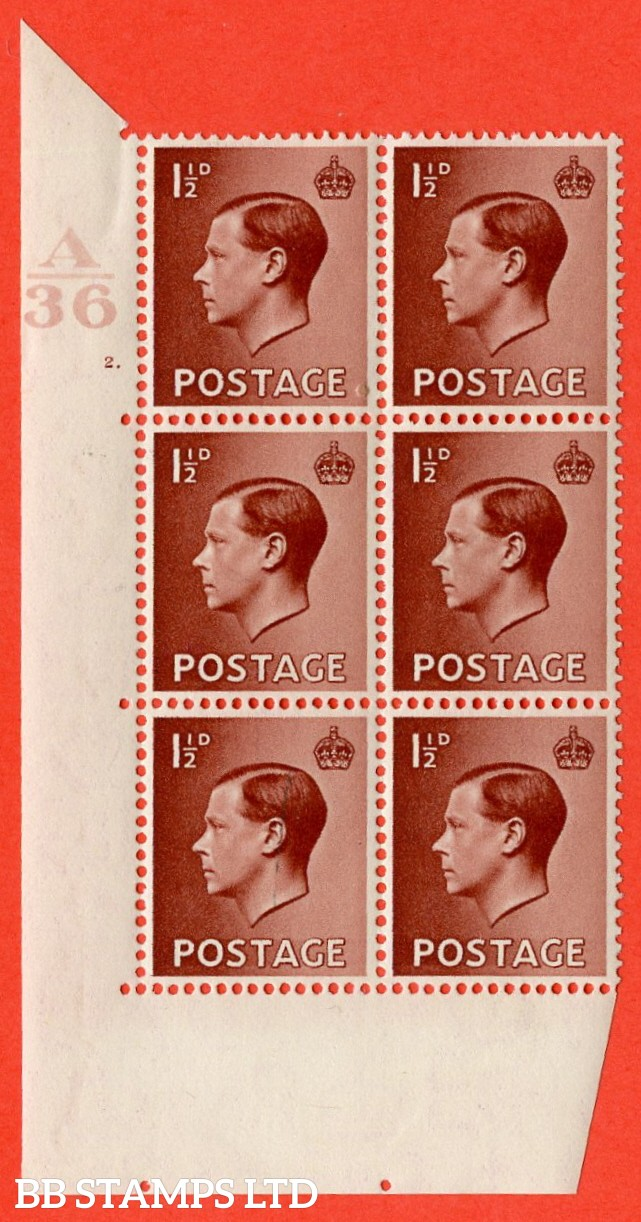 "SG. 459. P3. 1½d Red-Brown. A superb UNMOUNTED MINT. "" Control  A36 cylinder 2 dot "" control block of 6 with perf type 5 E/I."