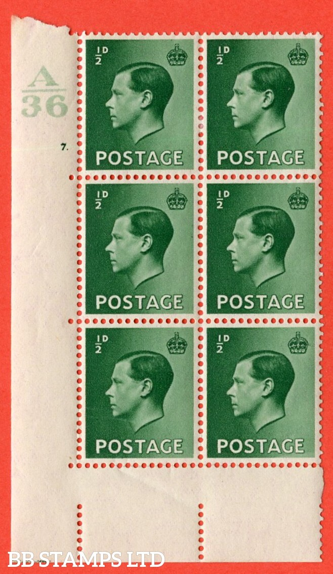 "SG. 457. P1 b. ½d green. A fine lightly mounted mint. "" Control  A36 cylinder 7 dot "" control block of 6 with perf type 5 E/I. with listed variety "" pearl beside crown "" row 20/2."