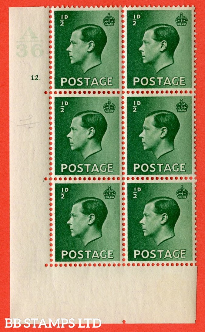 "SG. 457. P1 b. ½d green. A superb UNMOUNTED MINT. "" Control  A36 cylinder 12 dot "" control block of 6 with perf type 5 E/I. with listed variety "" Pearl beside crown "" row 20/2."