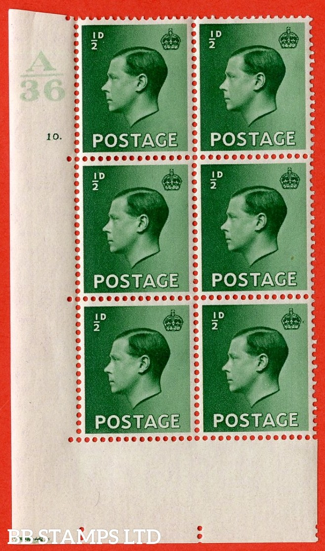 "SG. 457. P1 b. ½d green. A superb UNMOUNTED MINT. "" Control  A36 cylinder 10 dot "" control block of 6 with perf type 5 E/I. with the listed variety "" pearl beside crown  row 20/2 "". Perf separation top left."