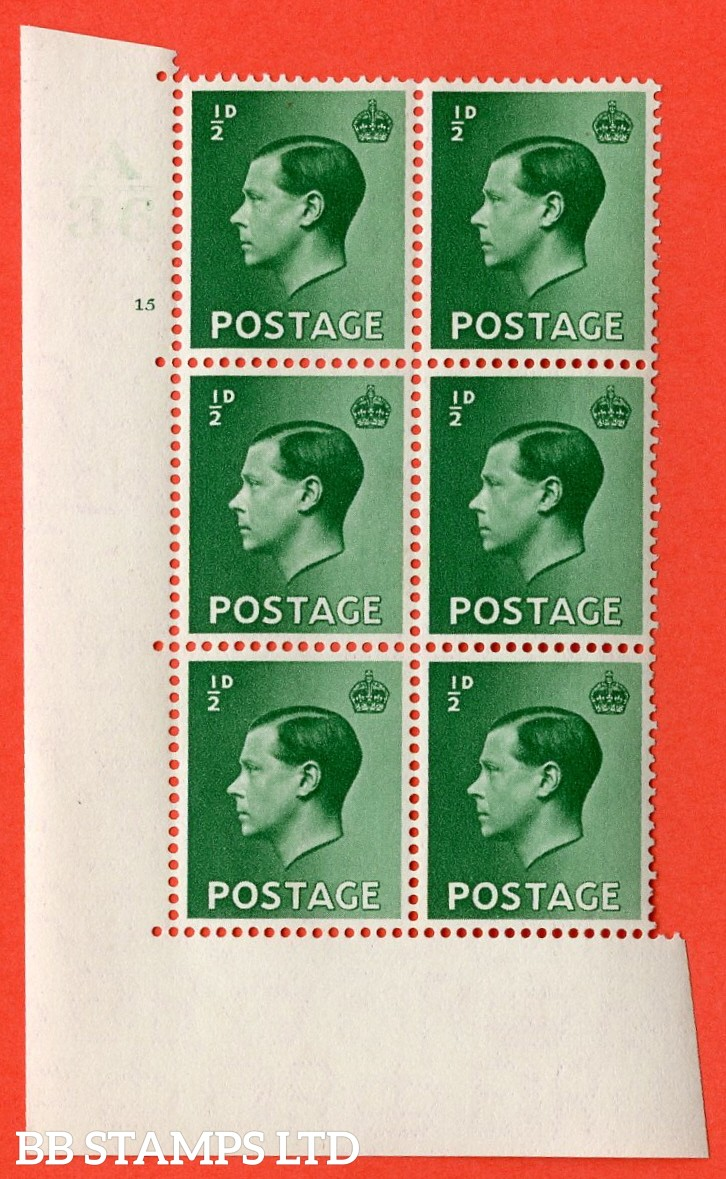 "SG. 457. P1. ½d green. A superb UNMOUNTED MINT. "" Control  A36 cylinder 15 no dot "" control block of 6 with perf type 5 E/I."