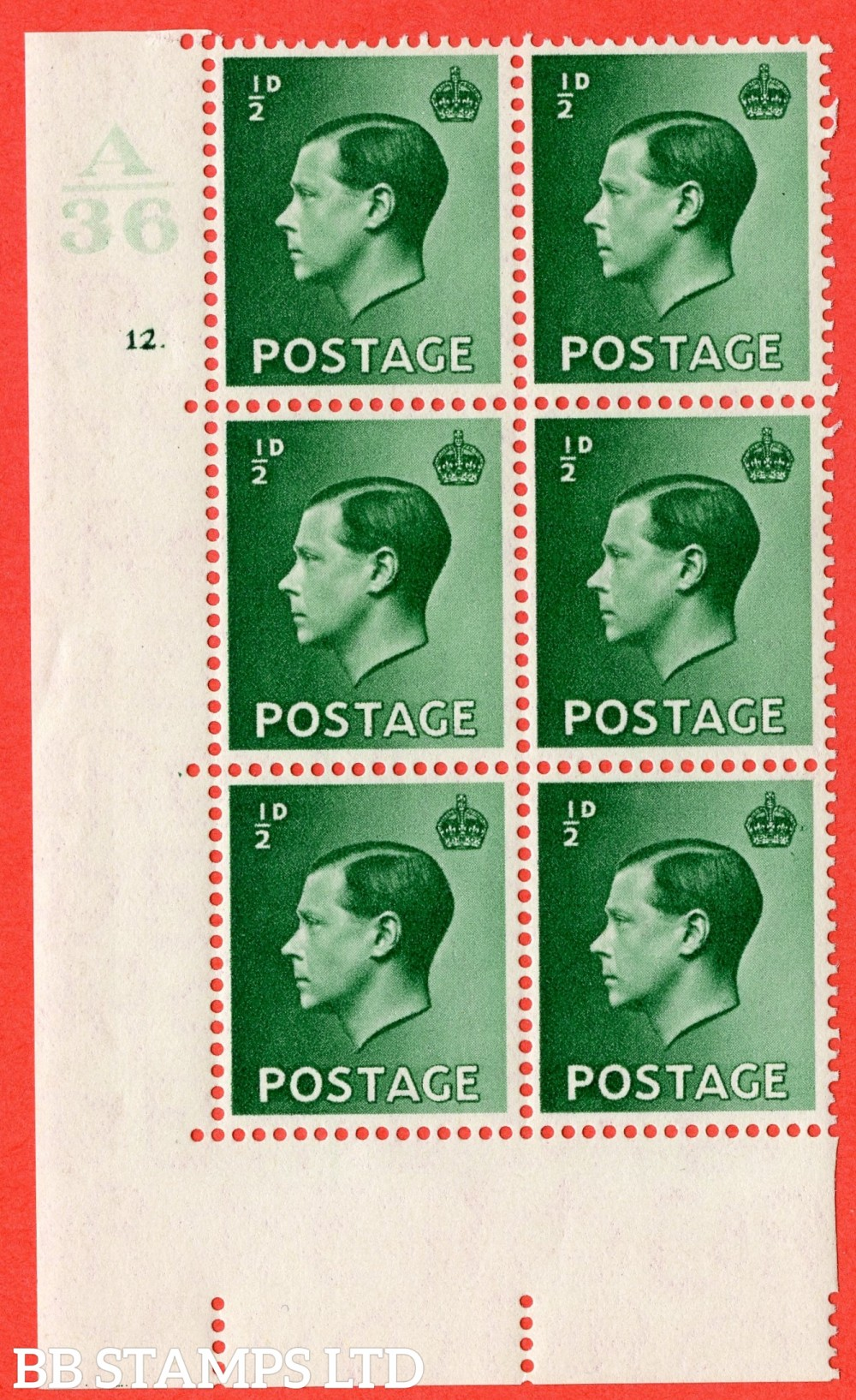 "SG. 457. P1 b. ½d green. A fine lightly mounted mint. "" Control  A36 cylinder 12 dot "" control block of 6 with perf type 5 E/I with listed variety "" Pearl Beside Crown "" Row 20/2."