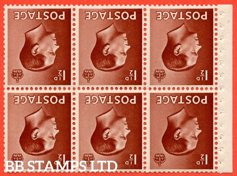 "SG. 459 wi. PB3 a. 1½d Red - Brown. INVERTED WATERMARK. A fine UNMOUNTED MINT complete booklet pane of 6 with selvedge. Perf type "" I ""."