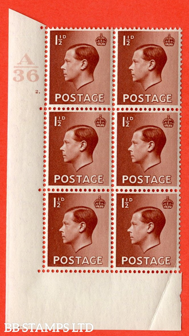 "SG. 459. P3. 1½d Red-Brown. A superb UNMOUNTED MINT. "" Control  A36 cylinder 2 dot "" control block of 6 with perf type 5 E/I. Creased."