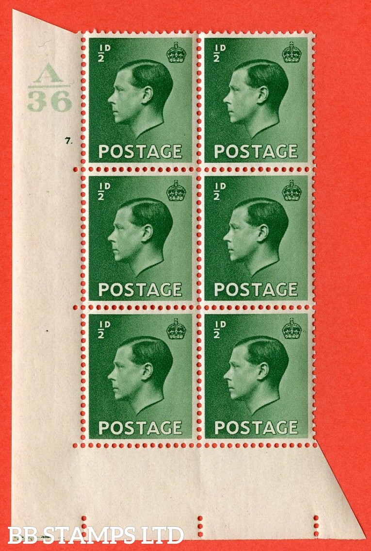 "SG. 457. P1 b. ½d green. A very fine lightly mounted mint. "" Control  A36 cylinder 7 dot "" control block of 6 with perf type 5 E/I. with the listed variety "" pearl beside crown  row 20/2 """