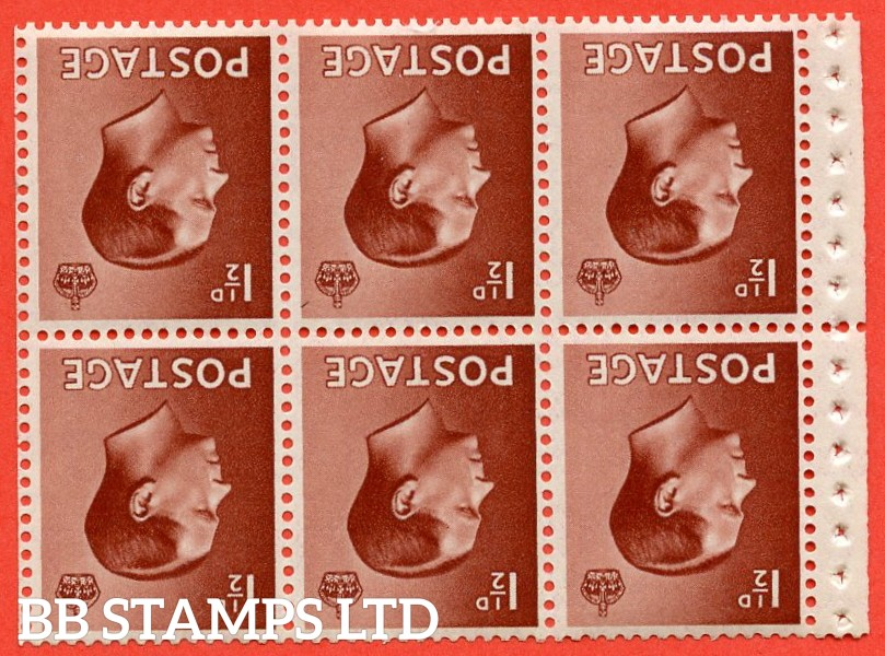 SG. 459 wi. PB3 a. 1½d Red - Brown. INVERTED WATERMARK. A fine UNMOUNTED MINT complete booklet pane of 6 with selvedge. Perf type P.