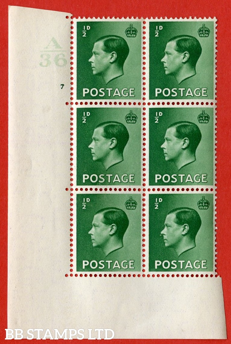 "SG. 457. P1. ½d green. A very fine lightly mounted mint. "" Control  A36 cylinder 7 no dot "" control block of 6 with perf type 5 E/I."