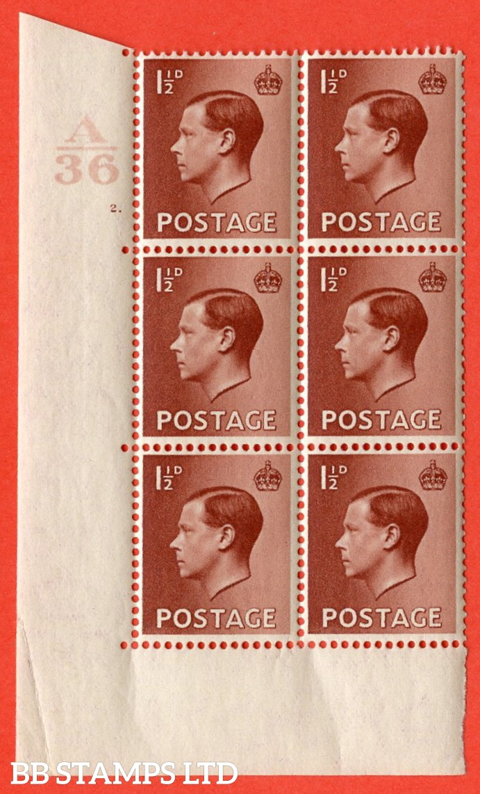 """SG. 459. P3. 1½d Red-Brown. A superb UNMOUNTED MINT. """" Control  A37 cylinder 2 dot """" control block of 6 with perf type 5 E/I."""