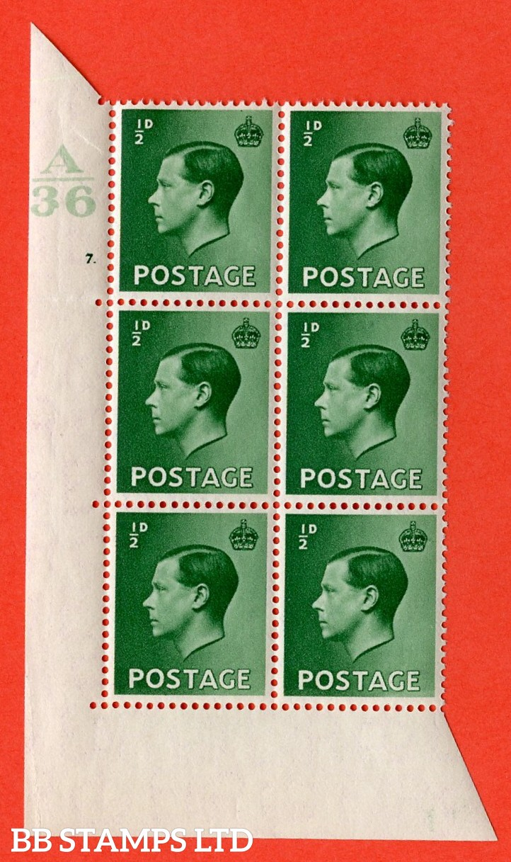 "SG. 457. P1 b. ½d green. A superb UNMOUNTED MINT. "" Control  A36 cylinder 7 dot "" control block of 6 with perf type 5 E/I. with the listed variety "" pearl beside crown "" row 20/2."