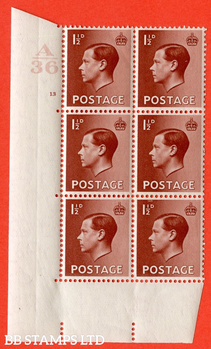 """SG. 459. P3. 1½d Red-Brown. A superb UNMOUNTED MINT. """" Control  A36 cylinder 13 no dot """" control block of 6 with perf type 5 E/I."""