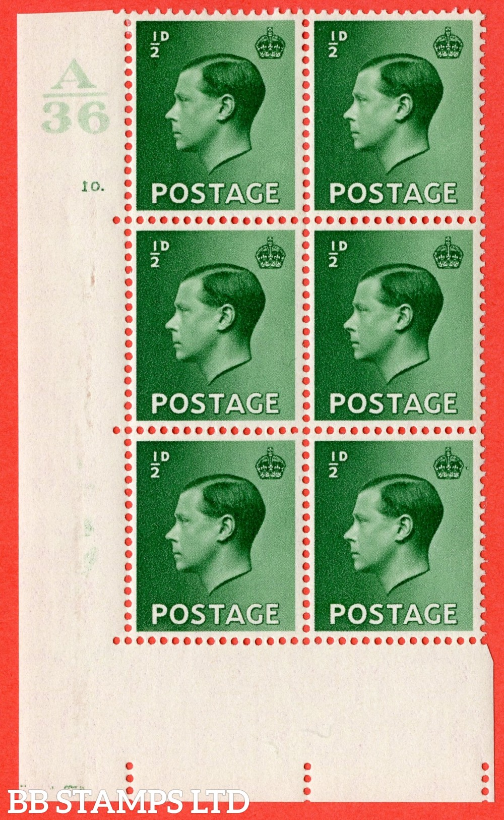 "SG. 457. P1 b. ½d green. A fine lightly mounted mint. "" Control  A36 cylinder 10 dot "" control block of 6 with perf type 5 E/I with listed variety "" Pearl Beside Crown "" Row 20/2."
