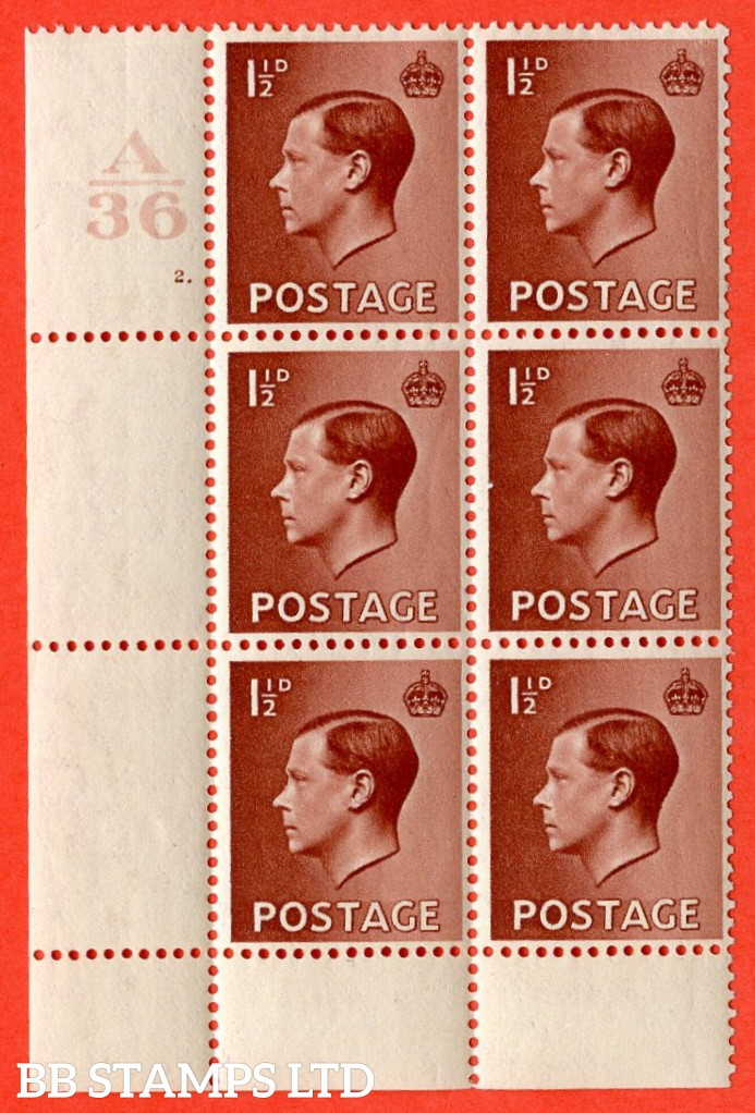 "SG. 459. P3. 1½d Red-brown. A superb UNMOUNTED MINT. "" Control  A36 cylinder 2 dot ""  control block of 6 with perf type 2 P/P. Ex Lord Steinberg collection"