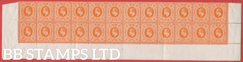 SG. 286 variety M27 (2). 4d Deep Bright Orange. A fine mint complete 2 bottom rows.