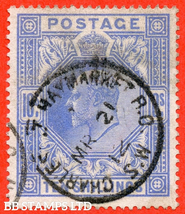 "SG. 319. M54 (2). 10/- Blue. A fine "" 21st March 1912 CHARLES ST. HAYMARKET "" CDS used example of this scarce Edward VII high value."