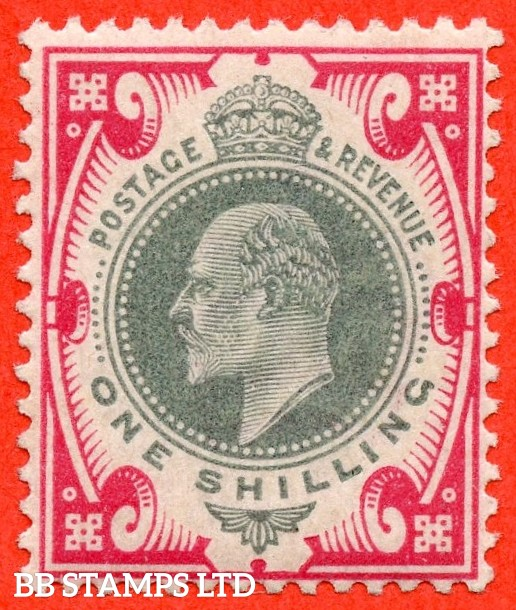 SG. M45 (3). 1/- Dull Green & Carmine Pink. A superb UNMOUNTED MINT example complete with Hendon certificate.