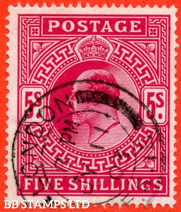"""SG. 264. M51 ( 2 ). 5/- Deep Bright Carmine. A very fine """" 11th July 1903 LONDON """" CDS used example."""