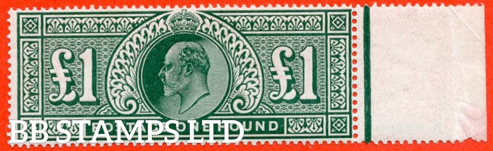 SG. 320. M56. £1.00 Deep Green. A superb UNMOUNTED MINT right hand marginal example.