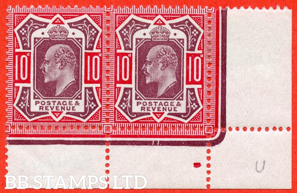 SG. 311. M44 (6). 10d Dull Reddish Purple & Carmine. A very fine ( 1 stamp UNMOUNTED MINT ) bottom right hand corner marginal pair.